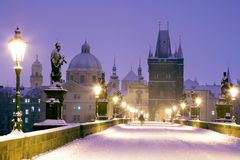 Winter snowy Charles bridge, gothic Old Town bridge tower,Old to. Wn district, Prague UNESCO, Czech republic, Europe royalty free stock image