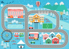 Winter snowy city car track play placemat. Lovely snowy city landscape car track play mat for children activity and entertainment. Winter city landscape with Royalty Free Stock Images