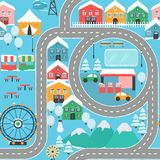 Winter snowy city car track seamless pattern. Lovely snowy city landscape car track seamless pattern play mat for children activity and entertainment. Winter Stock Images