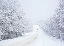 Winter, snowy day on the road Stock Photo
