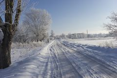 winter snowy empty road Stock Image