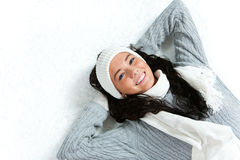 Winter: Snowy Girl with Arms Behind Head Stock Photos