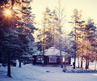 Winter snowy house Stock Images