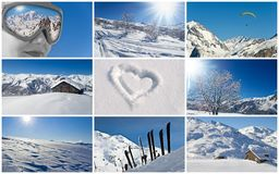 Winter snowy landscape collage Stock Image