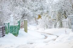Winter landscape. Winter snowy landscape in Europe climate stock image
