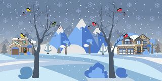 Winter Snowy Landscape with houses, trees and mountains. Suburban Buildings in Winter Landscape. Flat Vector Illustration. Detaile Royalty Free Stock Image