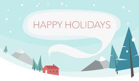 Winter snowy landscape with mountains. Red house with smoke from the chimney for text. Forest, mountain snowy landscape. Winter holiday. Vector flat illustration stock illustration