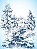 Winter snowy landscape. Pine forest and river in the mountains drawing Stock Photography