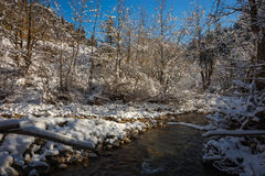 Winter snowy landscape with river at lake Plastira, Fesalia, Gre Royalty Free Stock Images