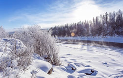 Winter snowy landscape by a river , Russia, Siberia Altai Stock Photography