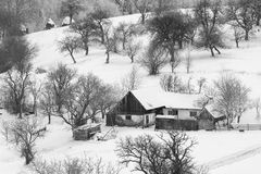 Winter snowy landscape. Winter snowy rural landscape in Bran - Moeciu, Romania Stock Photos
