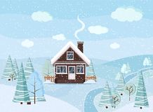 Free Winter Snowy Landscape Scene With Brick House, Winter Trees, Spruces, Clouds, River, Snow, Fields In Cartoon Flat Style, Christmas Stock Photo - 152217960