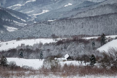 Winter snowy landscape of the transylvanian mountains. Winter landscape of the transylvanian village and the houses  on a hill, romanian rural view in Holbav Stock Images
