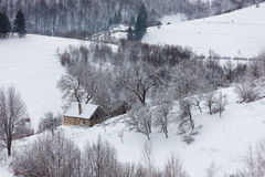 Winter snowy landscape of the transylvanian village. Winter mountain landscape of the transylvanian village and the houses isolated on a hill, romanian rural Stock Photography