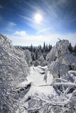 Winter Snowy Landscape View from Mountains Top. With Snow, Sun and Blue Sky -  Vertical Photo Royalty Free Stock Photos