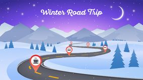 Winter snowy landscape with winding road pathway 16x9. New Year Royalty Free Stock Image