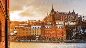 Winter snowy morning in Stockholm Stock Photos