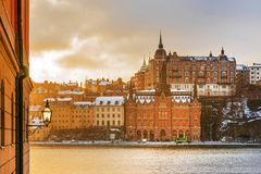 Winter snowy morning in Stockholm.  Royalty Free Stock Images