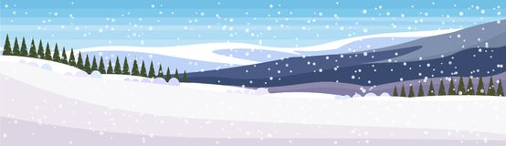 Winter snowy mountain fir tree forest landscape background horizontal banner flat. Vector illustration stock illustration