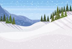 Winter snowy mountain fir tree forest landscape background horizontal flat. Vector illustration vector illustration