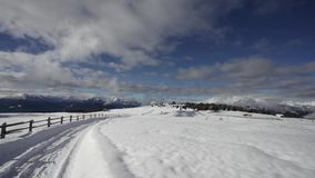 Winter snowy mountain landscape in South Tyrol Italy magical winter. World stock video