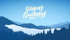 Winter snowy mountains christmas landscape with cartoon houses and handwritten lettering of Season`s Greetings. Vector illustration: Winter snowy mountains vector illustration