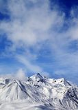 Winter snowy mountains at windy day Royalty Free Stock Image