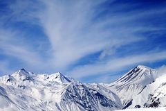 Winter snowy mountains in windy day Royalty Free Stock Images