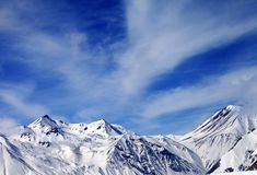 Winter snowy mountains in windy day Royalty Free Stock Photography