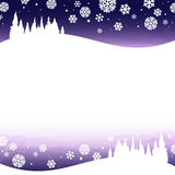 Winter snowy night. Landscape - illustration vector illustration