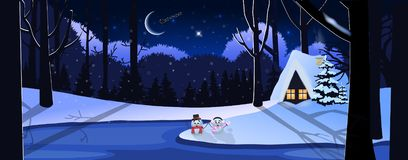 Winter snowy night landscape with little house in forest, cute snowmen and santa claus riding in the sky stock illustration