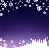Winter snowy night. Landscape - vector illustration stock illustration