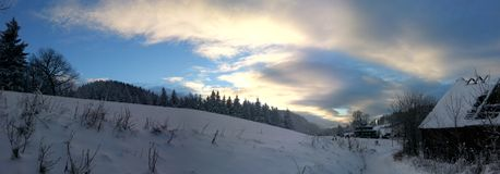Winter. Snowy panoramic view Stock Image