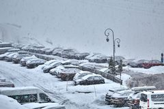 Winter snowy parking Royalty Free Stock Photo
