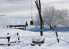 Winter snowy rustic scenery landscape featuring draw well Stock Photo