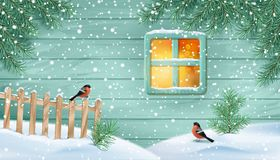 Winter Snowy Scene. Old window of a wooden house wall, fir-tree branches, birds, fence and snow drifts Royalty Free Stock Image
