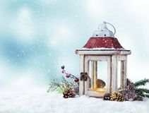 Winter snowy scenery with lantern Stock Photography
