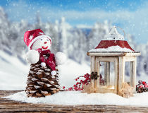 Winter snowy scenery with snow man Royalty Free Stock Photos
