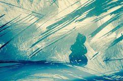 Winter snowy scenery with snowman. Winter mountain scenery with snowman scratched in frosty window stock images