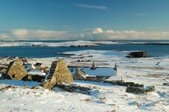 Winter snowy seascape. Beautiful sunny snowy winter day looking east over Levenwick in the Shetland Islands Stock Photo