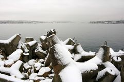 Winter snowy seascape Royalty Free Stock Images