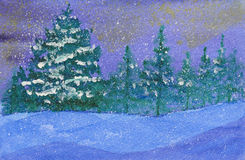 Winter snowy and starry magical night. Watercolor of winter snowy night full of stars in the forest vector illustration