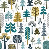 Winter snowy woods seamless pattern. royalty free illustration