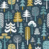 Winter snowy woods seamless vector pattern. vector illustration