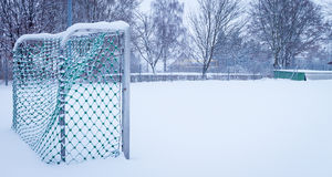 Winter Soccer Goal Stock Photography