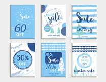 Winter social media sale banners and ads, web template collectio. N.  Christmas  illustration for mobile website posters, email and newsletter designs Stock Images