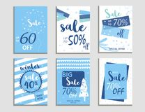 Winter social media sale banners and ads, web template collectio. N.  Christmas  illustration for mobile website posters, email and newsletter designs Stock Photos