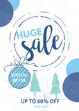 Winter social media sale banners and ads, web template collectio Royalty Free Stock Photo