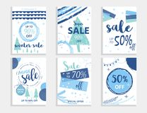 Winter social media sale banners and ads, web template collection. Christmas  illustration for mobile website posters, email and newsletter designs Royalty Free Stock Photo
