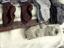 Winter socks. Handmade woolen socks ready to be sell Royalty Free Stock Image